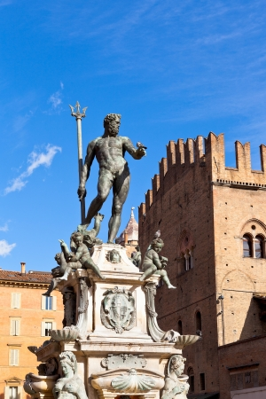neptun: Fountain of Neptune with blue sky background on Piazza del Nettuno in Bologna, Italy