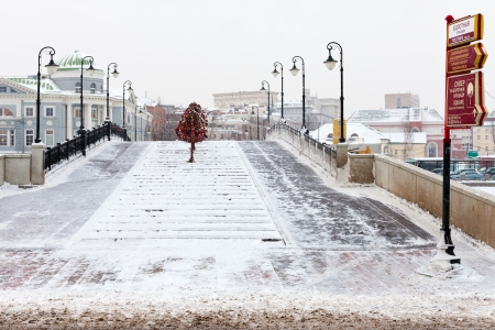 honeymooner: MOSCOW, RUSSIA - JANUARY 18: view Luzhkov bridge from Bolotnaya Square in winter. The bridge was opened in mid-1994 in Moscow, Russia on January 18, 2013