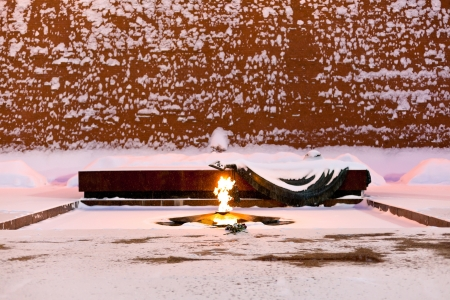 snow in Moscow - Eternal Flame of Tomb of the Unknown Soldier, Moscow in winter snowing evening