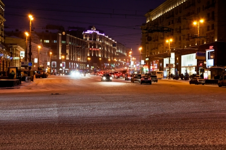 MOSCOW, RUSSIA - JANUARY 18: view of Tverskaya street at winter night. The street runs Northwest from the central Manege Square in direction of Saint Petersburg in Moscow Russia on January 18, 2013