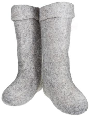 valenki: pair of knee-high felt boots isolated on white background