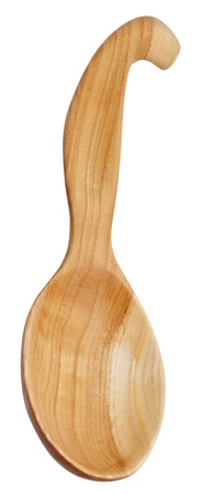 soup spoon: legno grosso cucchiaio da minestra a mano isolato su sfondo bianco