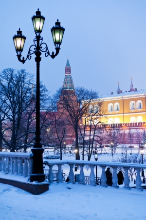 snow in Moscow - view of Alexander Garden in winter snowing evening photo