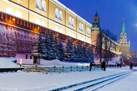 snow in Moscow - view of Tomb of the Unknown Soldier new Kremlin Wall, Moscow in winter snowing evening photo