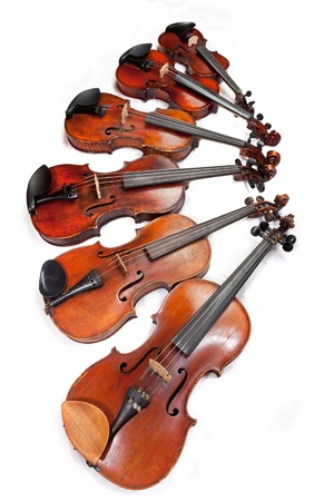fiddles: different sized fiddles on white background