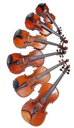 fiddles: different sized fiddles isolated on white background