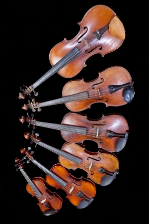 fiddles: different sized fiddles on black background