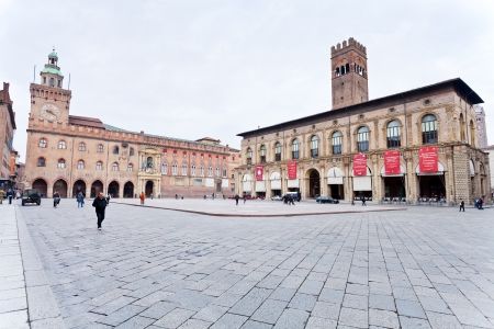 BOLOGNA, ITALY - OCTOBER, 31: view of Piazza Maggiore with Accursio Palace and Palazzo del Podesta. Palazzo del Podesta was was built around 1200. Bologna, Italy on October 31, 2012