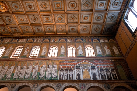 RAVENNA, ITALY - NOVEMBER 4: Mosaic of the Palace of Theodoric in cathedral Sant Apollinare Nuovo. It was erected by Ostrogoth King Theodoric during 6th century in Ravenna, Italy on November 4, 2012