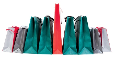 many paper shopping bags isolated on white backgrounds Stock Photo - 18090584