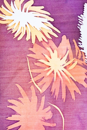 abstract pattern with flowers on silk batik photo