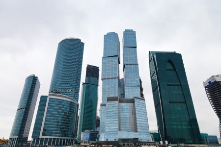 view of new Moscow city tower office building in overcast day photo