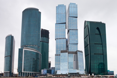 view of new Moscow city business center glass skyscrapers in overcast day Stock Photo - 18239843