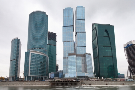 view of new Moscow city office center glass skyscrapers in overcast day photo