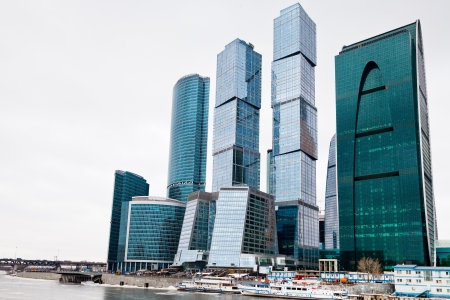urban landscape with Moscow city office center glass skyscrapers in overcast day photo