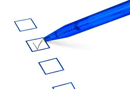 biro: put tick in blue square box by blue pen