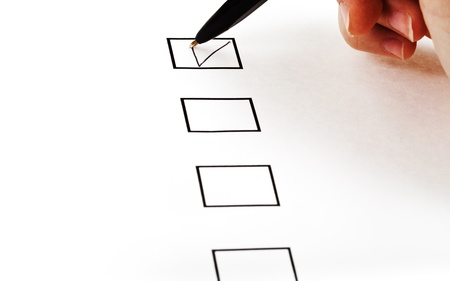 put tick in black square box by simple black ballpoint