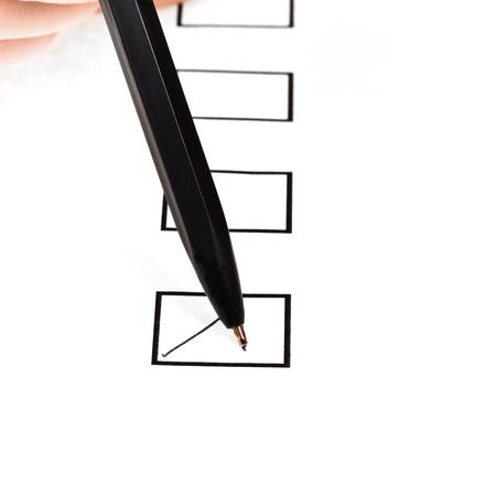 put tick: tick in black square box by cheap black pen