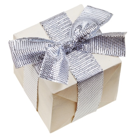 small handmade paper gift box with silver bow isolated on white background photo