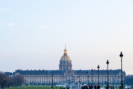 initiated: PARIS, FRANCE - MARCH 4: Hotel des Invalides. Louis XIV initiated the project by an order dated 24 November 1670, as a home and hospital for aged and unwell soldiers in Paris, France on March 4, 2013 Editorial