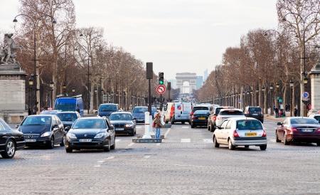 elysees: PARIS, FRANCE - MARCH 5: Avenues des Champs Elysees. The Champs-Elysees forms part of the Axe historique in Paris, France on March 5, 2013