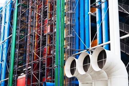 PARIS, FRANCE - MARCH 6: Wall of Centre Georges Pompidou. The Centre was built by GTM and completed in 1977 in Paris, France on March 6, 2013