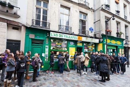 PARIS, FRANCE - MARCH 6: Jewish quarter of Le Marais. The rue des Rosiers is a major centre of the Paris Jewish community in Paris, France on March 6, 2013