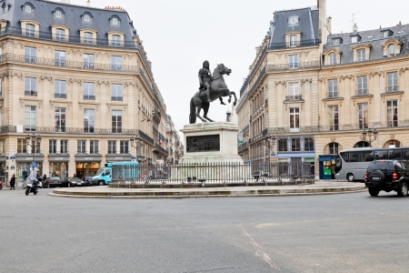 treaties: PARIS, FRANCE - MARCH 7: Place des Victoires. At center of the square is equestrian monument of Louis XIV, celebrating the Treaties of Nijmegen concluded in 1678-79 in Paris, France on March 7, 2013 Editorial