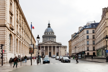 PARIS, FRANCE - MARCH 8: view of Pantheon through Rue Soufflot. Soufflot street was called Rue du Pantheon in the French Revolution , and was renamed in 1807 Soufflot in Paris, France on March 8, 2013