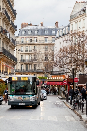 began: PARIS, FRANCE - MARCH 8: boulevard in Saint-germain-des-Pres district. District commercial growth began upon the 1886 completion of its Boulevard Saint-Germain in Paris, France on March 8, 2013 Editorial