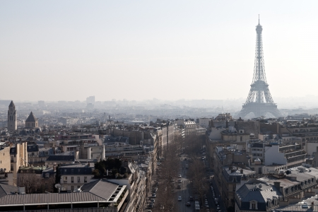 d'eiffel: above view of Avenues D Iena and Eiffel tower in Paris Stock Photo
