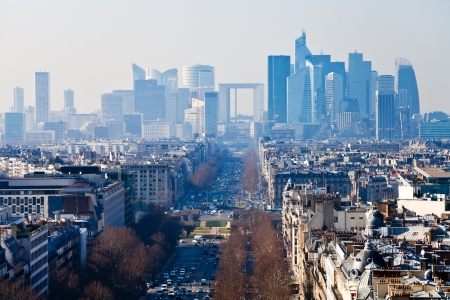 above view of Avenue de la Grande Armee in Paris and la Defense district photo