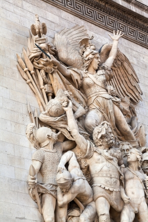 marseillaise relief on sculpture decoration of triumphal arch in Paris photo