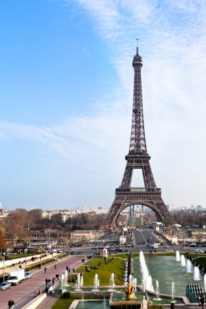 d'eiffel: panoramic view of eiffel tower in Paris from trocadero Stock Photo