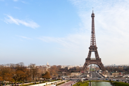 view of eiffel tower from Trocadero in Paris