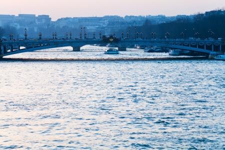 alexandre: view of pont alexandre iii in Paris on evening glow Stock Photo