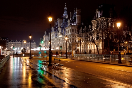Paris, France - March 7, 2013: view of Hotel de Ville (City Hall) in Paris, France at night