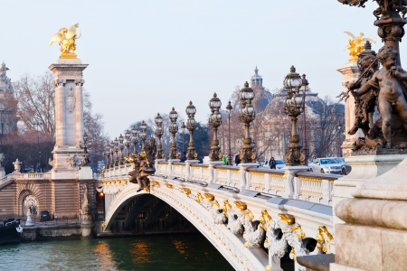 alexandre: PARIS, FRANCE - MARCH 4: Pont Alexandre III. The bridge, with its Art Nouveau lamps, cherubs, nymphs and winged horses at either end, was built between 1896 and 1900, in Paris, France on March 4, 2013