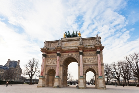 PARIS, FRANCE - MARCH 5: The Arc de Triomphe du Carrousel. It was built between 1806 and 1808 to commemorate Napoleons military victories, in Paris, France on March 5, 2013