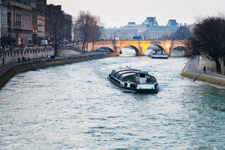 gloaming: gloaming panorama of Seine river and Pont Neuf in Paris