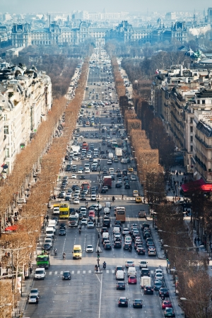 PARIS, FRANCE - MARCH 4  Avenues des Champs Elysees  The avenue runs for 1 91 km from Place de la Concorde in the east, to Place Charles de Gaulle in Paris, France on March 4, 2013