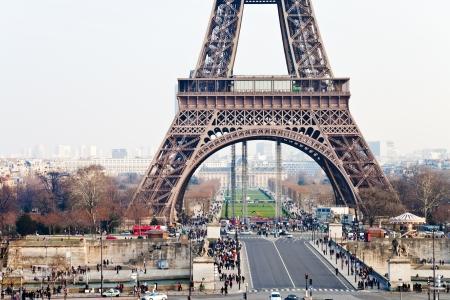 d'eiffel: view of Champ de Mars, Pont d Iena and Eiffel Tower in Paris