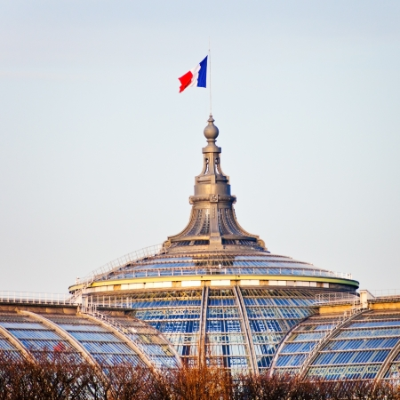 grand palace: french state flag on Great Palace in Paris in evening