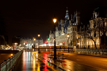 view of Hotel de Ville (City Hall) in Paris, France at rainy night photo