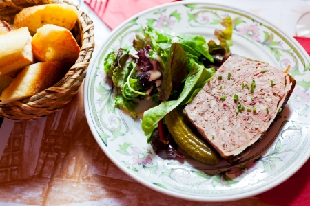 french meat pate on plate in restaurant photo