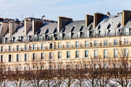 rivoli: Paris urban building on Rue de Rivoli in early spring afternoon Editorial