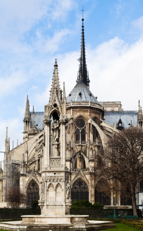 fontaine: view of notre-dame de paris and Fountain of the Virgin from Square Jean XXIII
