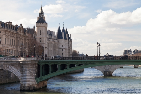 view of Seine river and Pont de Notre Dame in Paris