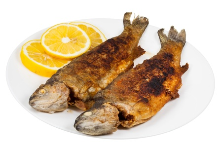 isoladed: fried river trout fish on plate isolated on white background