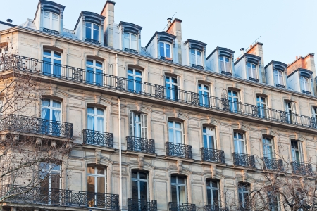 Paris urban building in early spring afternoon